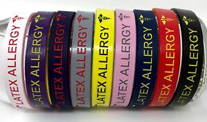 Latex Allergy Medical Alert Wristband/Bracelet - Nine Colours (BeWise Bands)