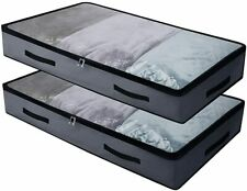Foldable Underbed Bags - Pack of 2, Transparent Zip Lid Under Bed Storage Bags f