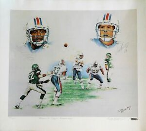 Miami Dolphins Dan Marino and Mark Clayton Signed Lithograph UDA Authenticated