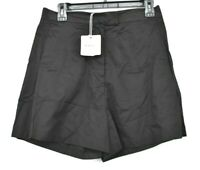 Six Crisp Days Womens Black Solid Zip Fly Lightweight High Waisted Shorts L