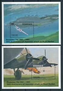 [105794] Dominica 1991 WWII Pearl Harbor Aviation 2 Souv. Sheets MNH