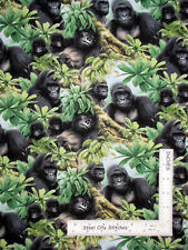 Gorilla Jungle Ape Monkey Animal Cotton Fabric Elizabeths Studio #1284 By Yard