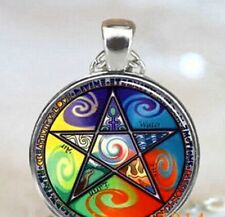 ELEMENTS CELTIC PENTACLE PENTAGRAM Glass Cabochon Pendant necklace  UK Seller
