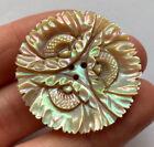 Antique Vintage Extra Large Carved Shell Button 3- Hole Ornate Floral Design