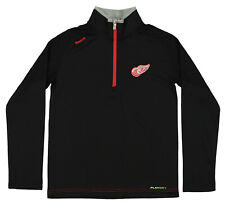 Reebok NHL Youth Detroit Red Wings Grinder Quarter Zip Coaches, Black