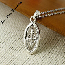 925 Sterling Silver Solid Cut-out Coptic Oval Cross Charm Pendant For Necklace