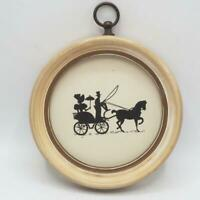 Vintage Silhouette Reverse Painted Wall Hanging Victorian Couple in Carriage