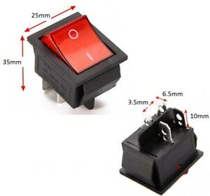 Rocker Switch 240V Mains Red ON / OFF Double Pole 4 Pin DPST