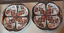 Pair Estate Antique Japanese Imari HandPainted Polychrome Porcelain Bowls Plates