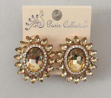 Post Stud Earrings Elegant Party Prom Light Topaz Acrylic Crystal Stones Cluster