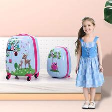 """12"""" 16"""" 2Pc Kids Carry On Luggage Set Upright Hard Side Hard Shell Suitcase"""