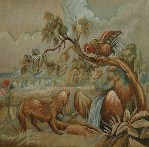 1.7' Antique  Dog & Rooster Tiny Tapestry Aubusson Tapestry Canvas Knot