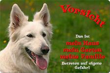 Weißer SCHÄFERHUND - A4 Alu Warnschild Hundeschild SCHILD Türschild - WSS 01 T1