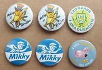 6 vintage advertising badges, 32mm, Lyonzade, Tonibell, Mikky, Mr Chip o Keiller