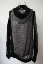 NWT Jean Paul Gaultier Black Silver turtleneck knit jumper top cashmere XS
