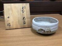 Y0291 CHAWAN Shino-Ware signed box Japanese Tea Ceremony bowl pottery Japan