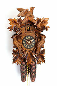 cuckoo clock black forest 8day original german wood carving mechanical new