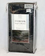 "NIP DAMASK Stripe Collection King Bedskirt Black 15"" Drop 100% Egyptian Cotton"
