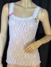 Stretch lace Cami white Sheer sexy Maidenform pinup S tank top NWT shape wear