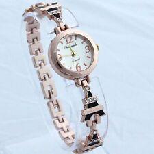 Ladies Fashion Rose Gold Quartz Effiel Tower & Crystal Band Wrist Watch.