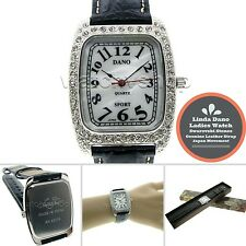 Linda Dano Silver Women Quartz Analog Watch Austria Crystals Leather Strap 19A