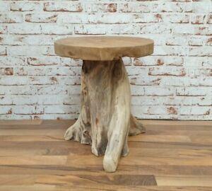Hocker Baumstamm Teak Massivholz Beistelltisch Unikat Tisch Stuhl Wurzelholz
