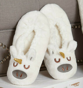 Womens UNICORN Embroidered Sherpa Slippers S/M Gift Ivory White & Gold