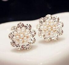 SMALL GOLD TONE ROUND STUD EARRINGS FAUX PEARLS AND CRYSTALS