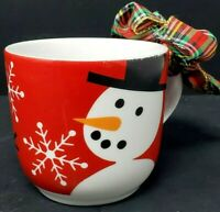 Crate & Barrel Snowman Snowflakes Red White Coffee Tea Cocoa Mugs/Cups Holiday