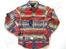 New Ralph Lauren Polo Extra Heavy 100% Cotton Indian Print Work Shirt slim S