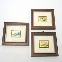 3 x Goldbild Folienbild Miniatur Bild Enten Set in Holzrahmen ca. 11 x 11 cm