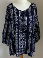 Spirit at M&Co Size 12 Ladies Blue Top With White Print Detail