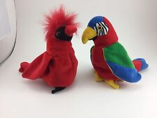 """LOT OF TWO BEANIE BABY BIRDS MAC THE RED CARDINAL (7"""") & JABBER THE PARROT (7"""")"""