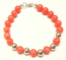 Sterling Silver Ball Bracelet with Genuine Pink Coral Gemstone Beads 7.5 inch