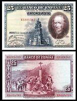 SPAIN 25 PESETAS 1928 P 74b  aUNC Bank Note