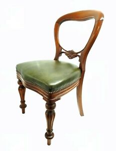 Vintage Green Leather Victorian Chair Decor 50'Style Studded Trim Capitan Chair