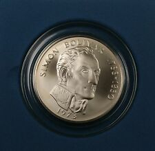 1973 Panama 20 Balboas Simon Bolivar UNC Silver Commemorative Coin with Box