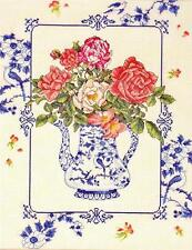TEA ROSES Pink Rose Blue & White Pitcher Vase Counted Cross Stitch Kit ~ NEW