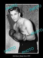 OLD LARGE HISTORIC PHOTO OF IRISH BOXING CHAMPION JIMMY GROW c1959
