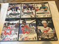 Nintendo GameCube Game Lot of 6 Sports Games: Madden, NHL Hitz,All Star Baseball