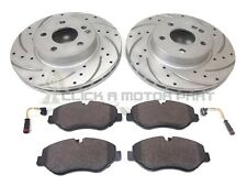 MERCEDES VITO 2004-2014 FRONT DRILLED BRAKE DISCS PADS + 2 SENSORS (BREMBO TYPE)