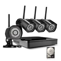 Zmodo 4 Channel NVR 720p HD Wireless Outdoor Home Video Security Cameras System