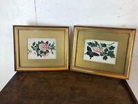 Pair of Oriental Flower Paintings on Paper in Gold Frames