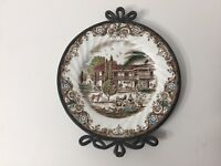 """""""Heritage Hall"""" French Provincial, Staffordshire England Plate w/Pewter Frame"""