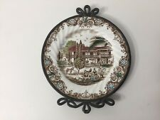 """Heritage Hall"" French Provincial, Staffordshire England Plate w/Pewter Frame"