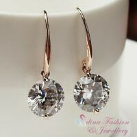 18K Rose Gold Plated Simulated Diamond 6.0 Ct Extra Sparkling Dangle Earrings