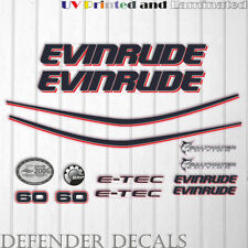 Evinrude 60hp etec outboard engine decal sticker set kit reproduction White Cowl