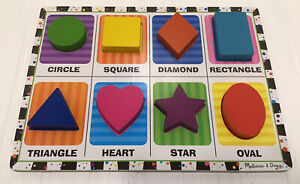 Melissa And Doug Chunky Puzzle 8 Wooden Shapes Early Grow And Learn Ages 2+