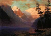 Large Oil painting Albert Bierstadt - Evening Glow Lake Louise in dusk landscape