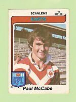 1980  EASTERN SUBURBS ROOSTERS  SCANLENS RUGBY LEAGUE  CARD #41  PAUL McCABE